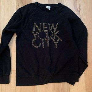 J CREW PULLOVER New York City Black Embroidered